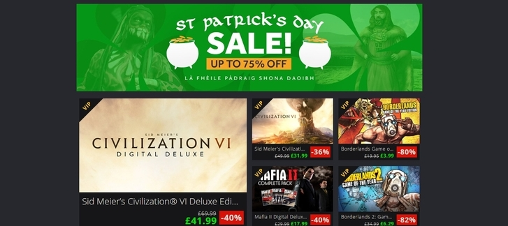 St Patrick's Day Sale at Green Man Gaming